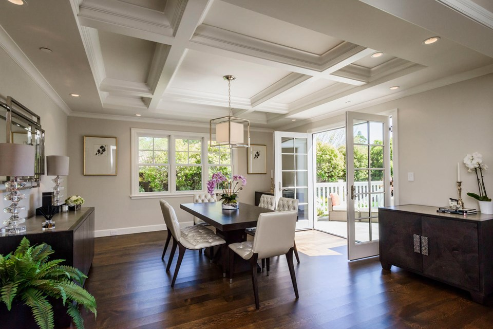 formal dining room with french doors opening out to deck and rear gardens